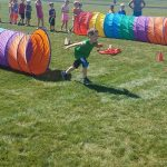 Student participates in field day