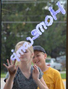 homecoming window decorating at Alburnett Schools