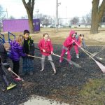 Students Cleaning Playground