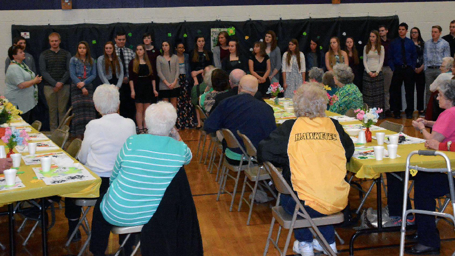 Alburnett choral group performing for seniors