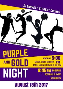 flier for Fall Purple & Gold Night